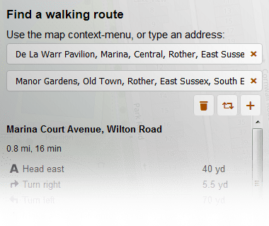 Walking route preview